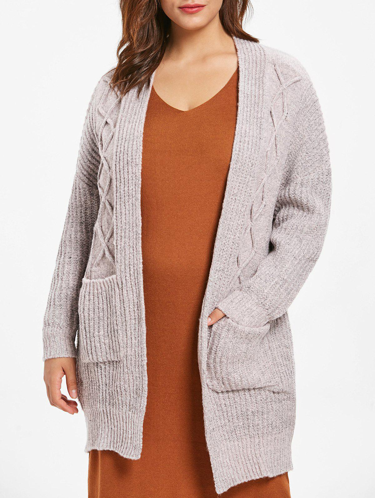 Chic Cable Knit Plus Size Front Pockets Cardigan