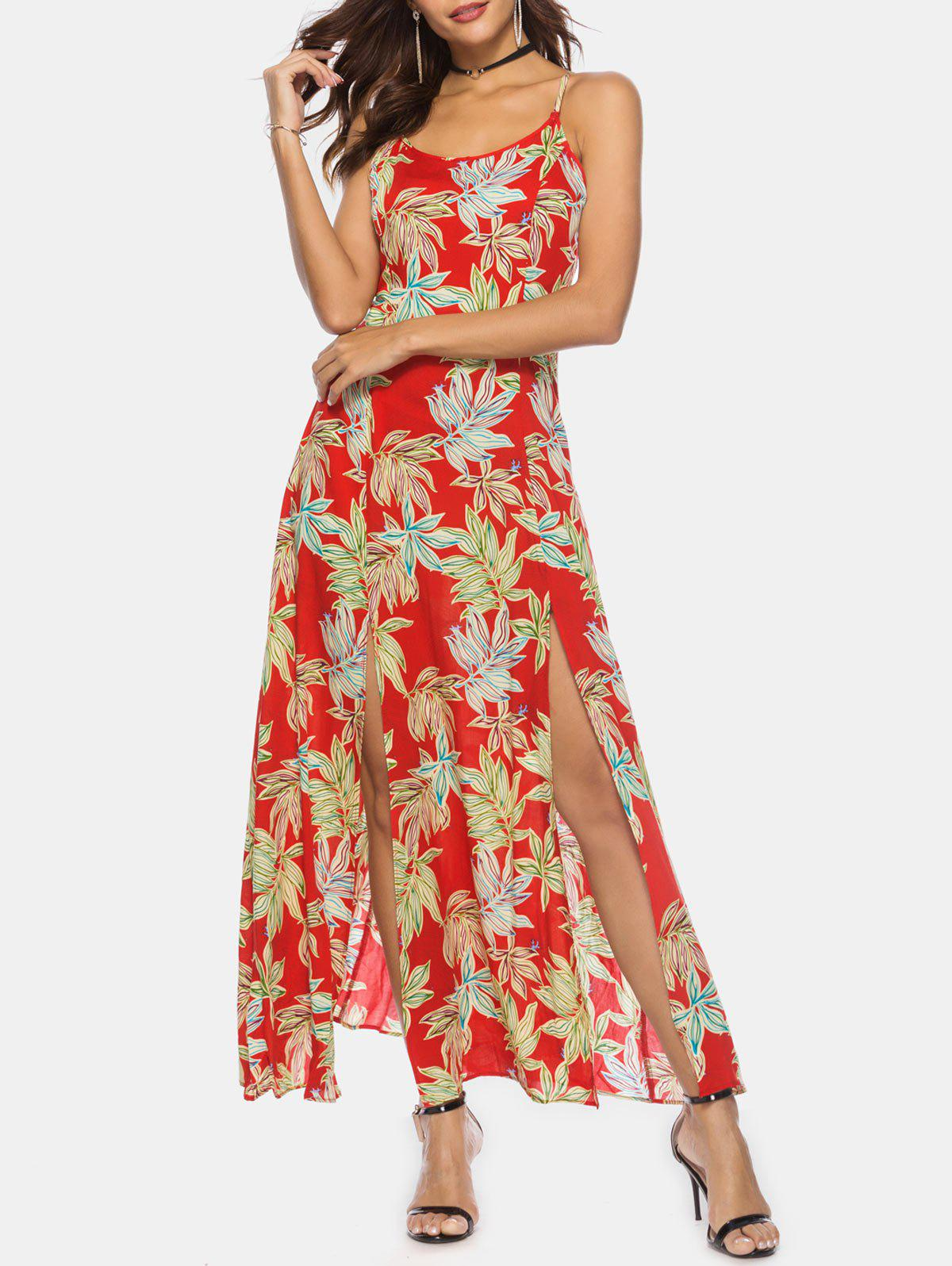 Store Bohemian Palm Print High Slit Maxi Dress