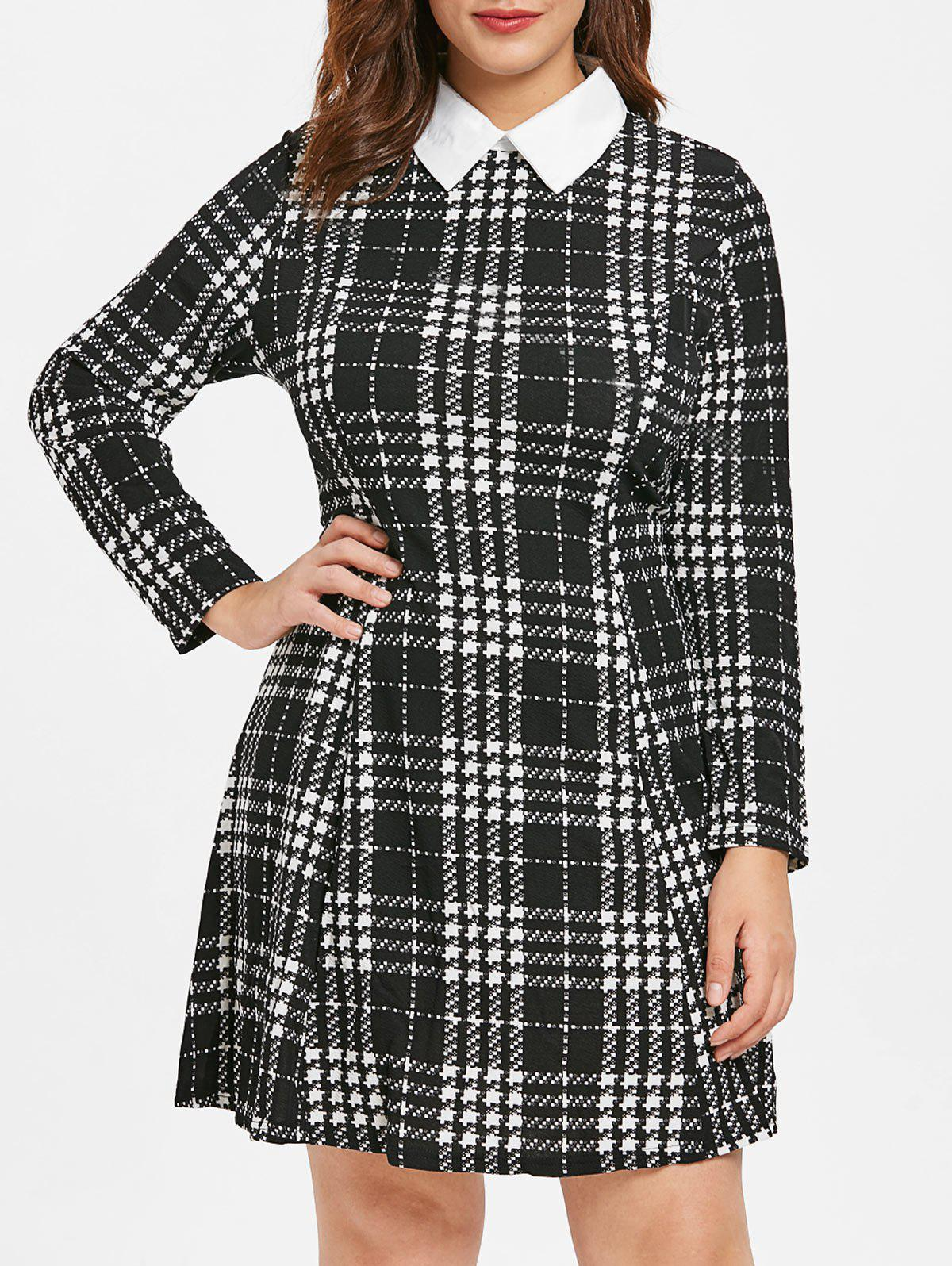 Online Plus Size Plaid Fit and Flare Dress