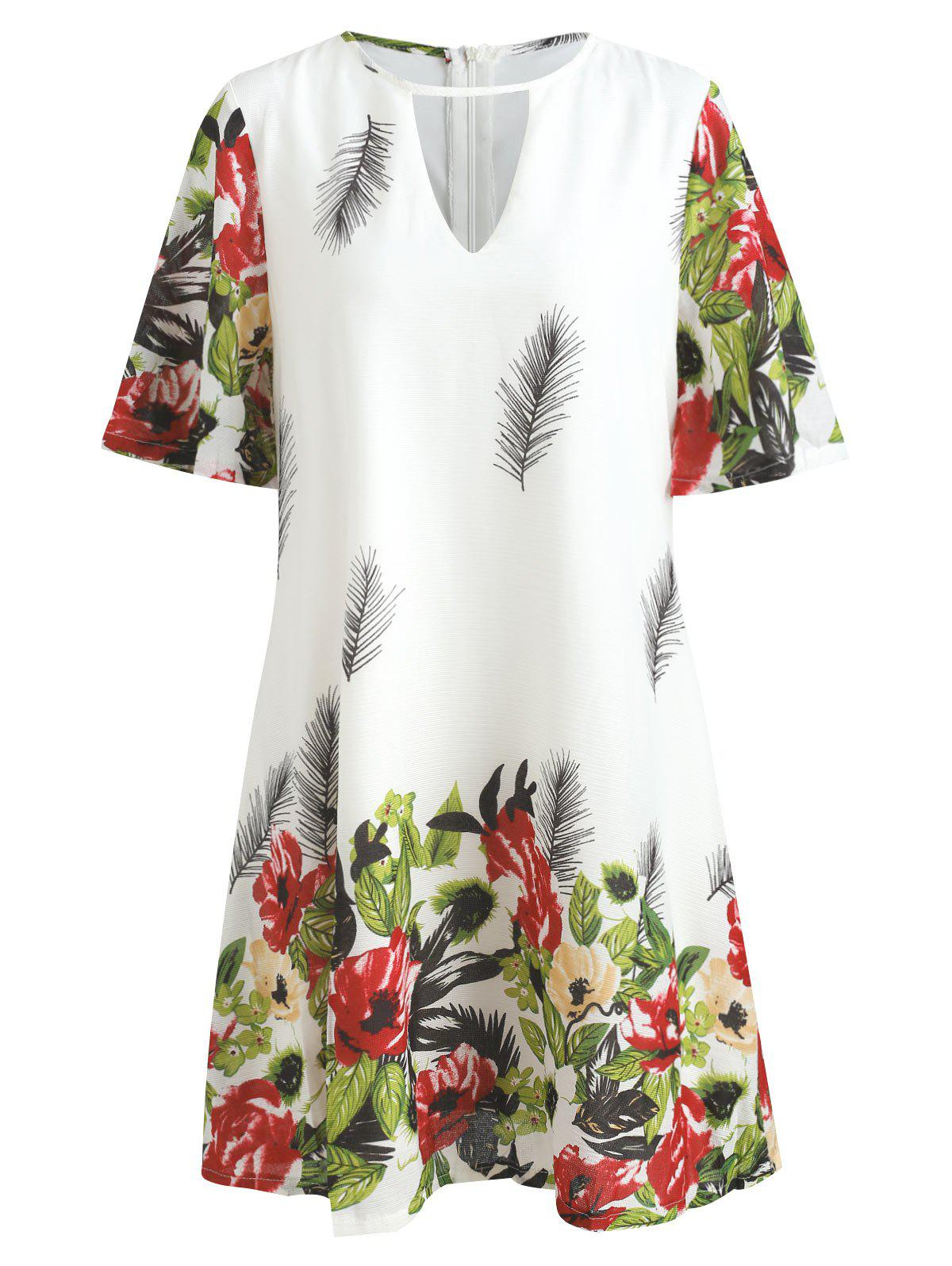 Buy Flare Sleeve Keyhole Floral Dress