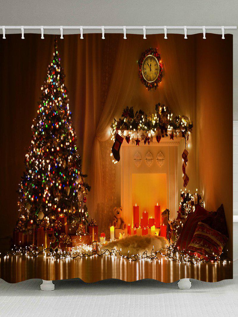 Shops Christmas Tree Candle Waterproof Bath Curtain