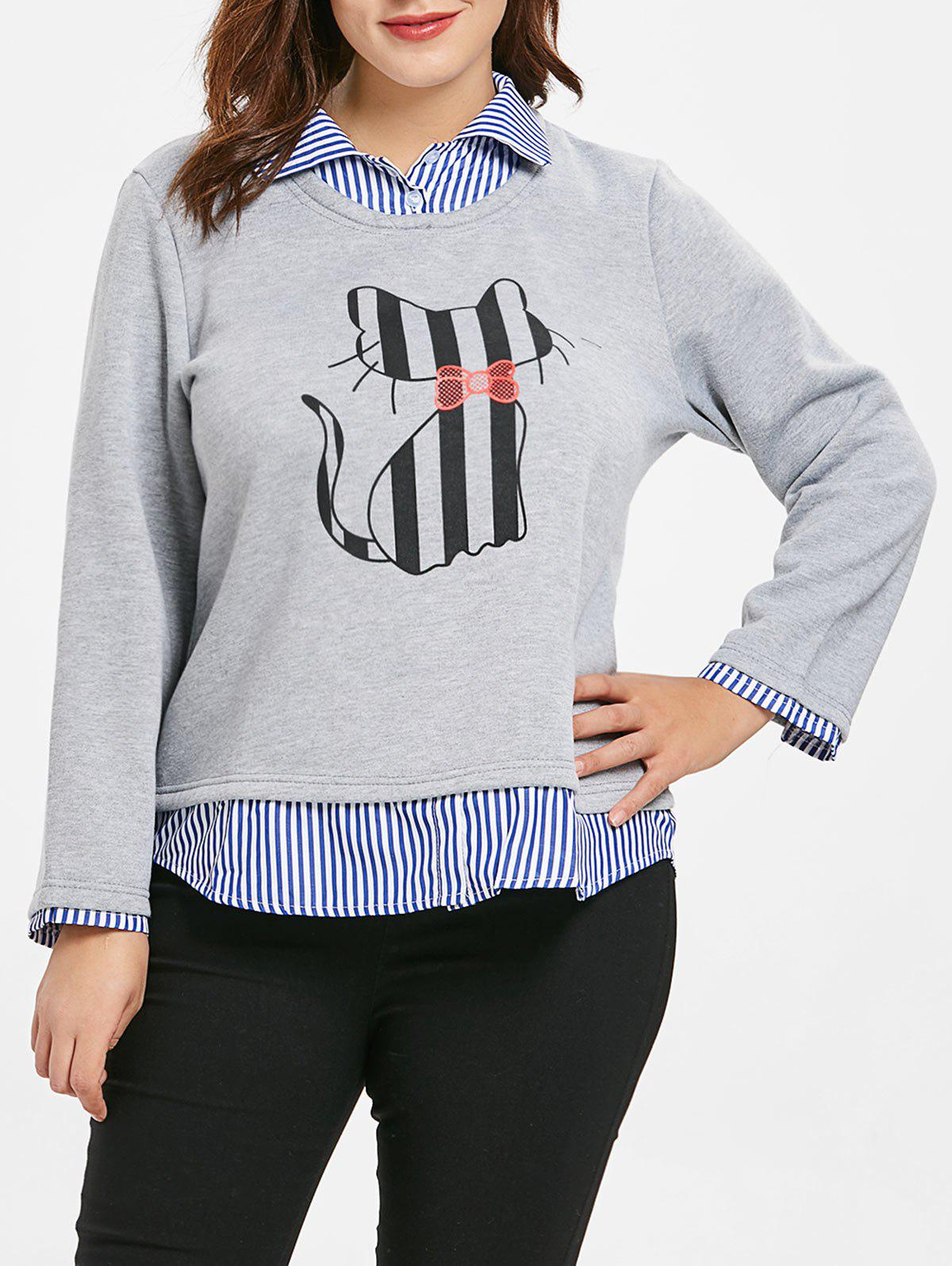 Image of Plus Size Striped Panel Faux Two Piece Sweatshirt
