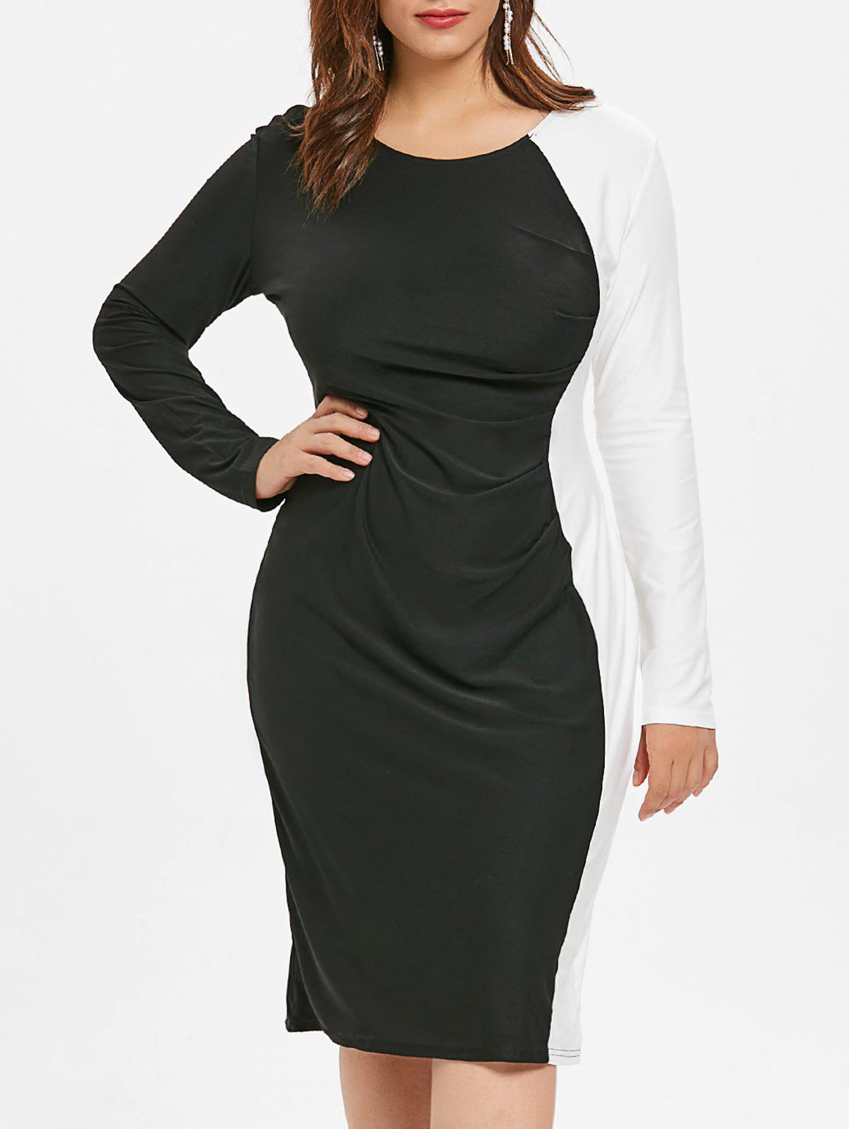 Sale Plus Size Color Block Bodycon Dress