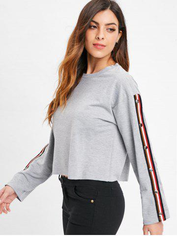 Stripe Trim Buckle Up Sleeve Crop Sweatshirt