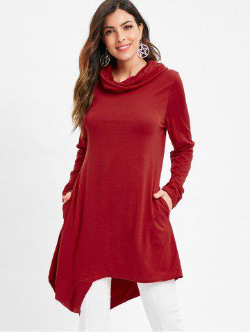 Cowl Neck Asymmetrical Tunic T Shirt