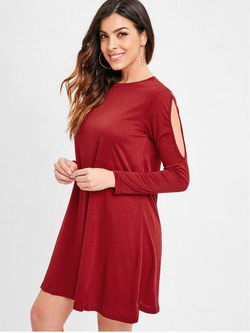 Cut Out Sleeve Tunic Tee Dress