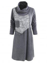 Cowl Neck Button Tunic Dress -