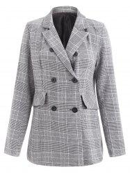 Lapel Double Breasted Houndstooth Blazer -