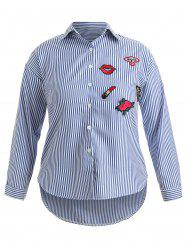 Plus Size Striped Embroidered High Low Shirt -
