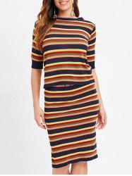 Colorful Stripe Two Piece Knitted Suit -