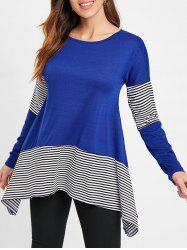 Stripe Insert Asymmetrical Tunic T Shirt -