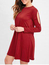 Cut Out Sleeve Tunic Tee Dress -