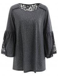 Flare Sleeve Lace Insert T Shirt -