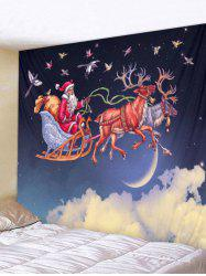 Christmas Santa and Deer Print Wall Art Tapestry -