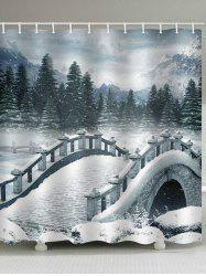 Snow Bridge Print Bath Decor Waterproof Shower Curtain -