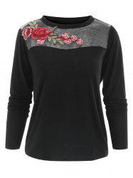 Floral Embroidery Mesh Insert Full Sleeve T-shirt -