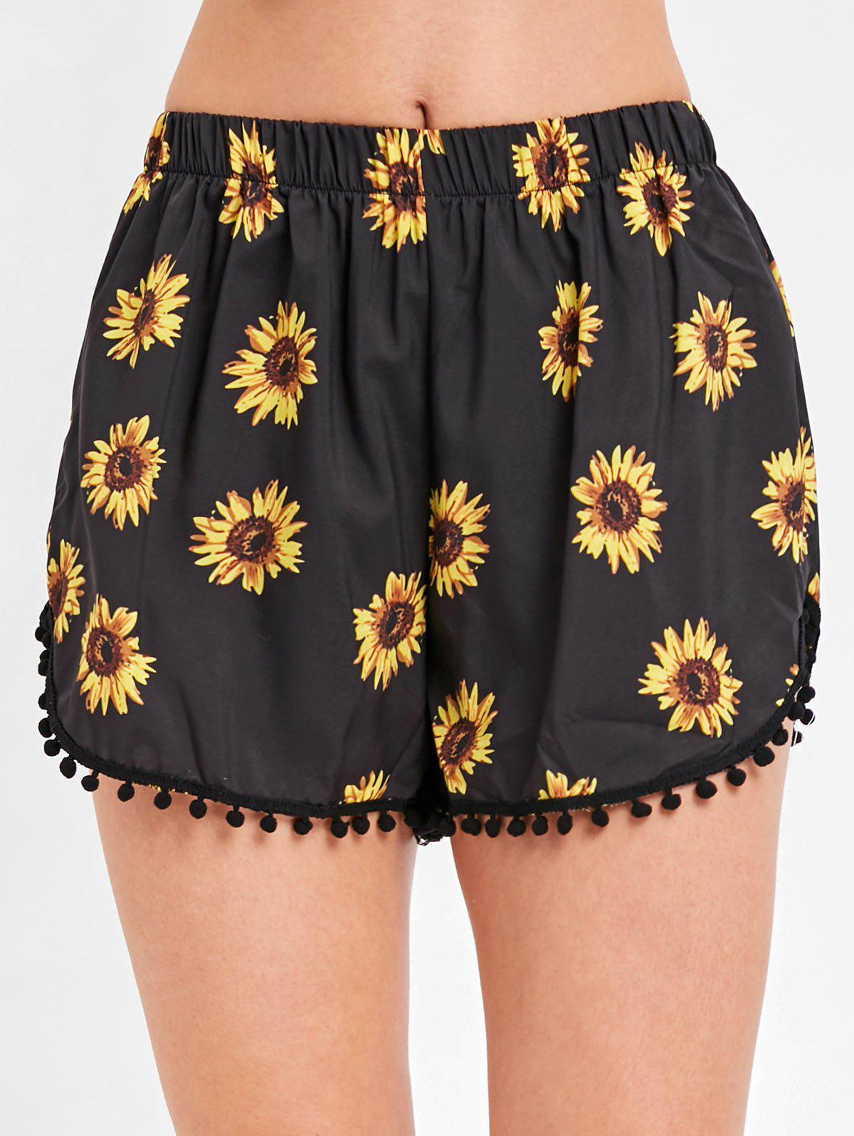 Unique Sunflower Pull On Beach Shorts