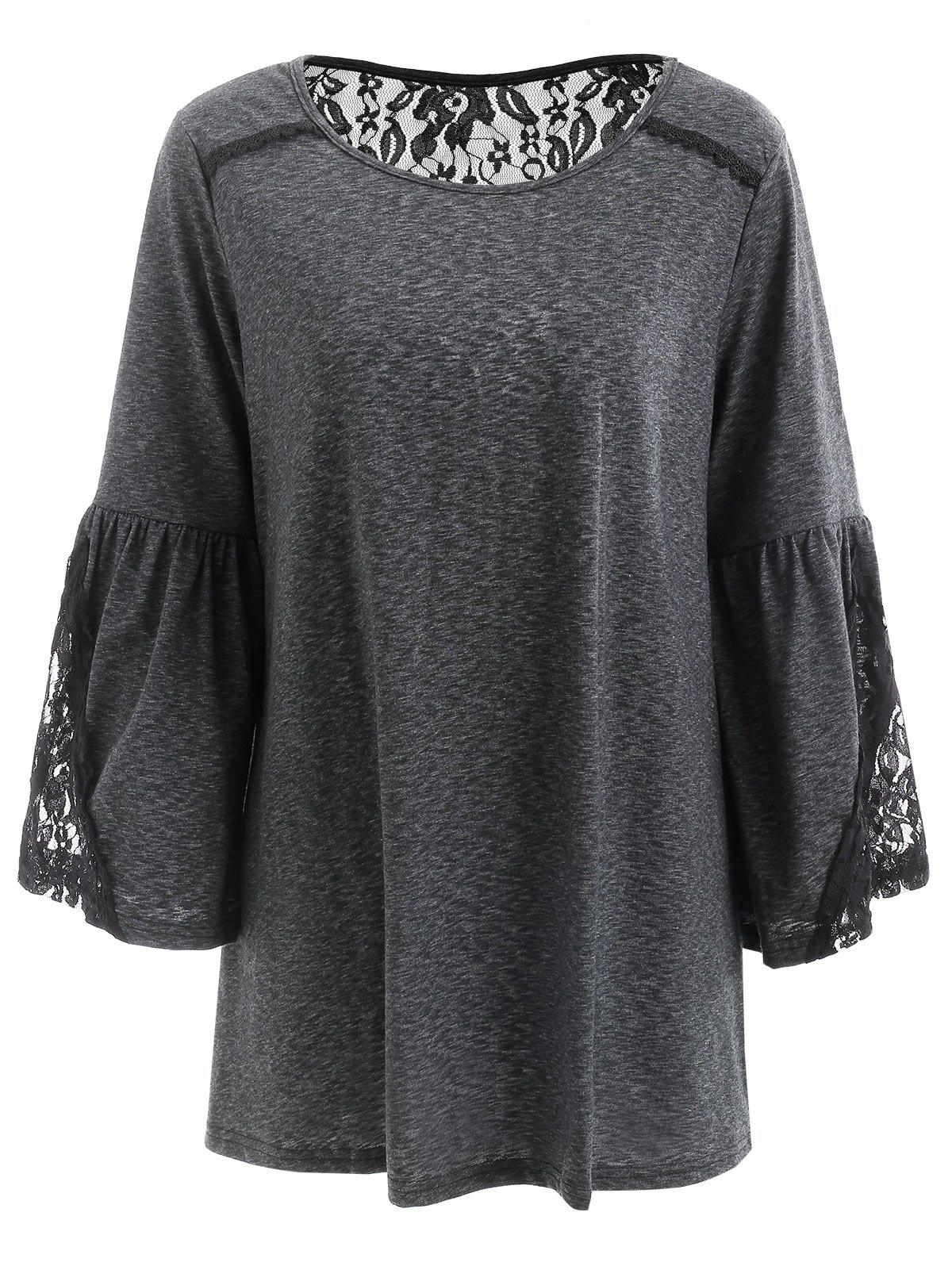 Hot Flare Sleeve Lace Insert T Shirt