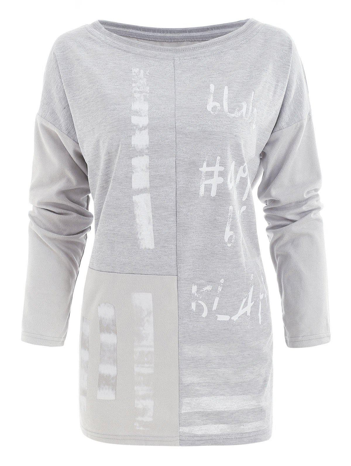 Discount Letter Print Sparkling Tunic T Shirt