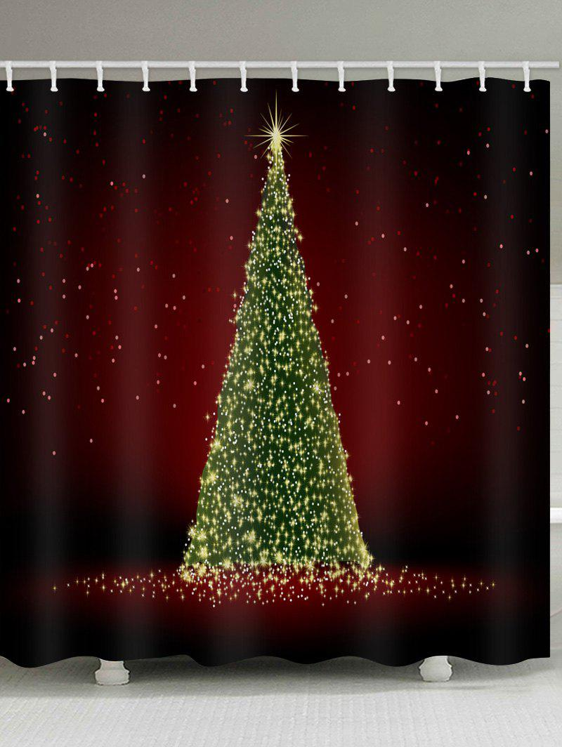 Christmas Curtains.Lighting Christmas Tree Print Bath Waterproof Shower Curtain