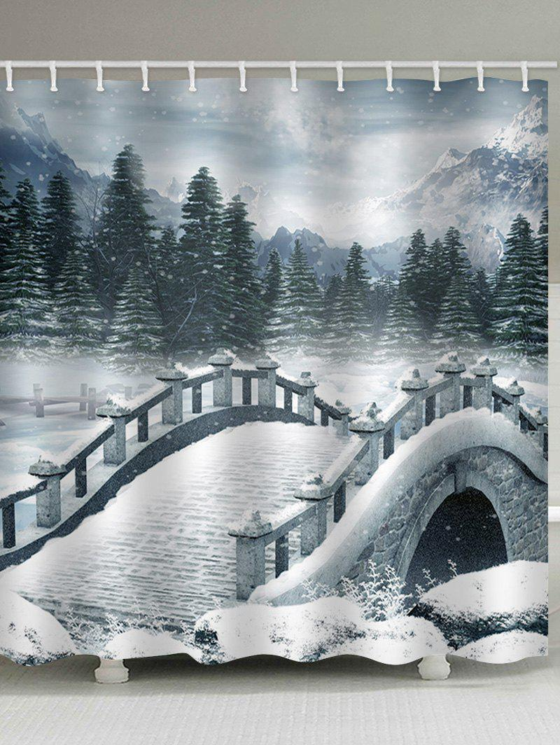 Discount Snow Bridge Print Bath Decor Waterproof Shower Curtain