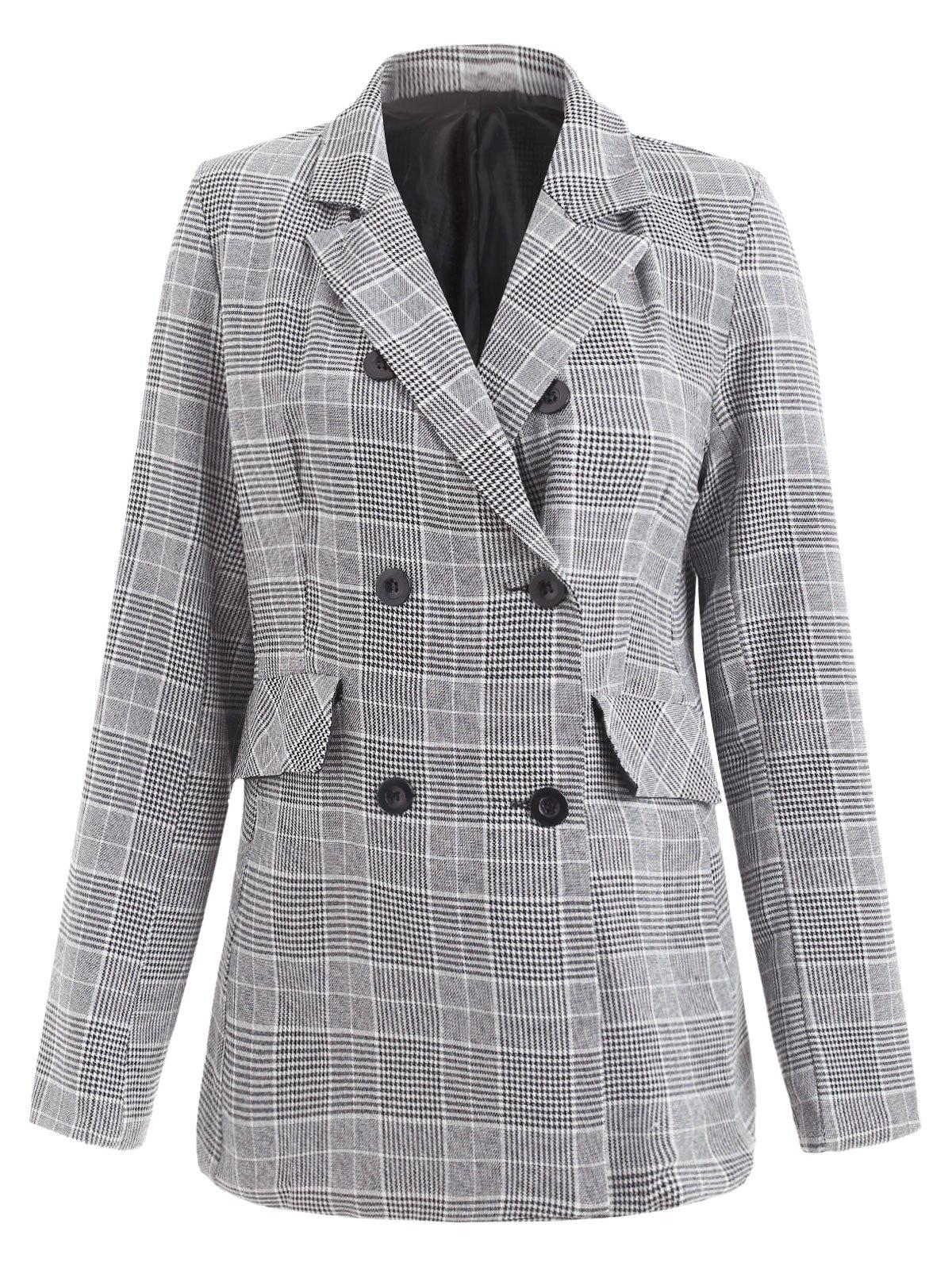 Fancy Lapel Double Breasted Houndstooth Blazer