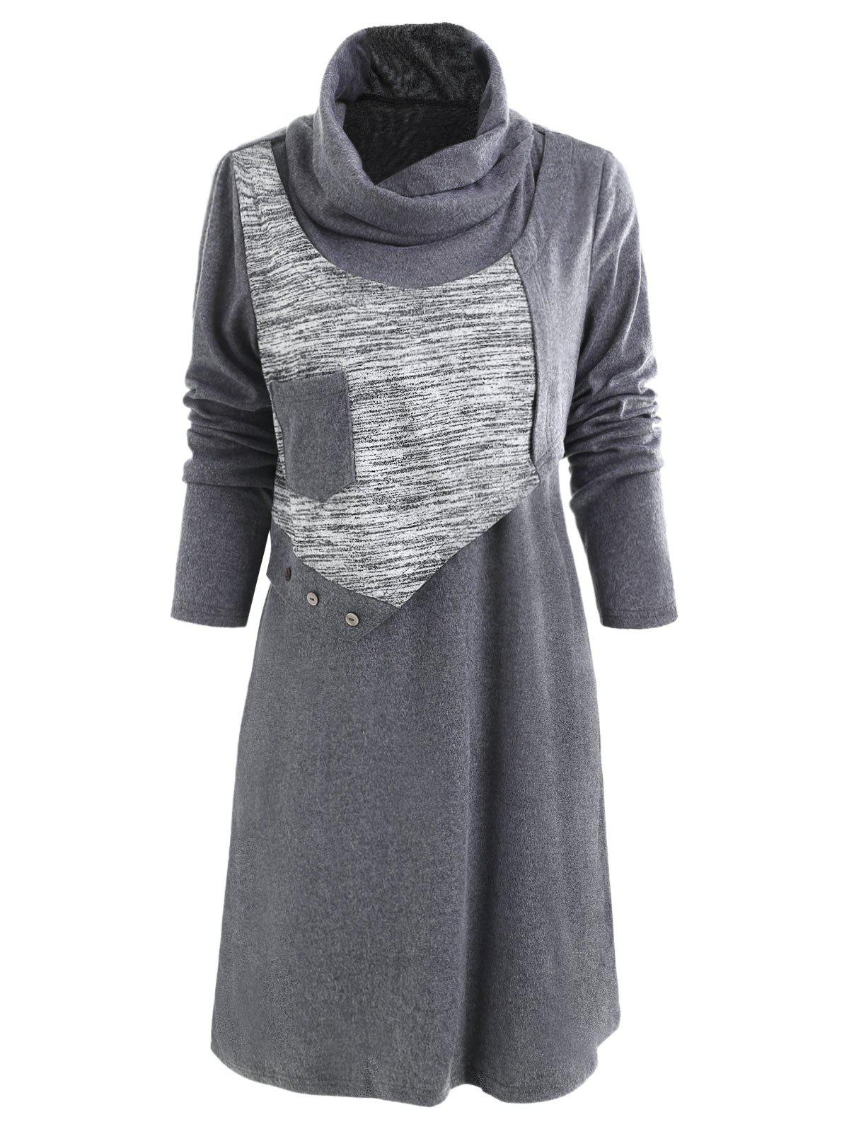 Online Cowl Neck Button Tunic Dress
