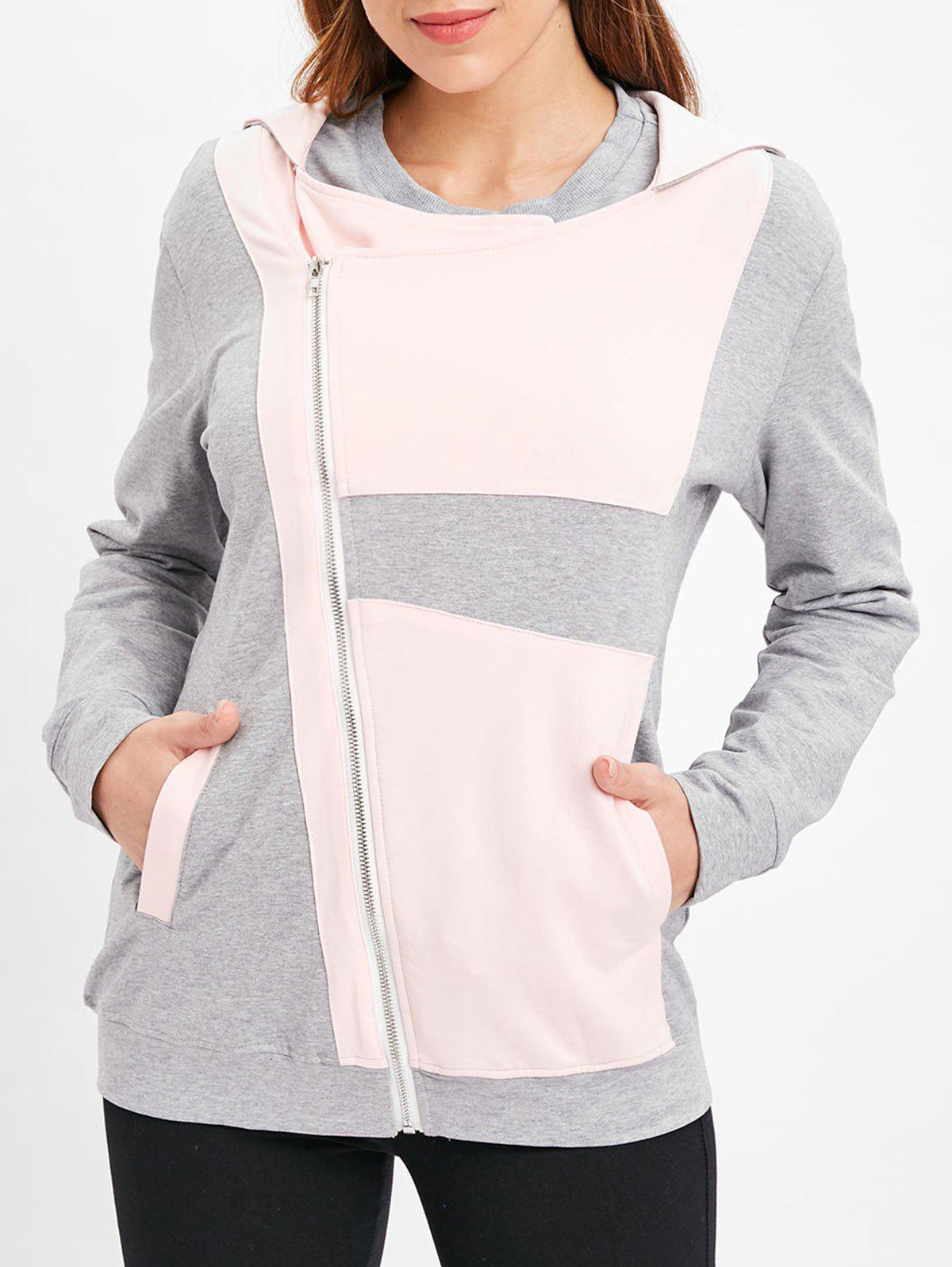Trendy Color Block Zip Up Tunic Hoodie
