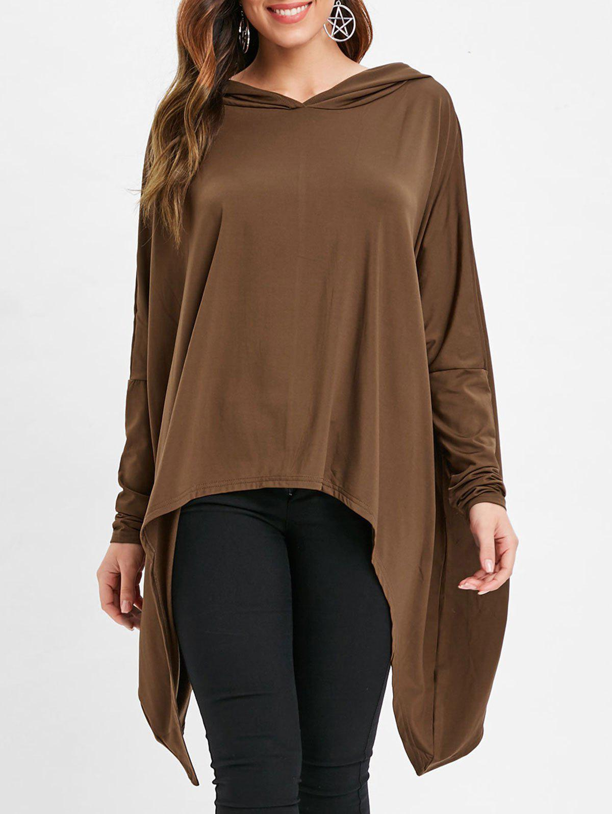 Affordable Asymmetrical Hem Tunic Pullover Hoodie