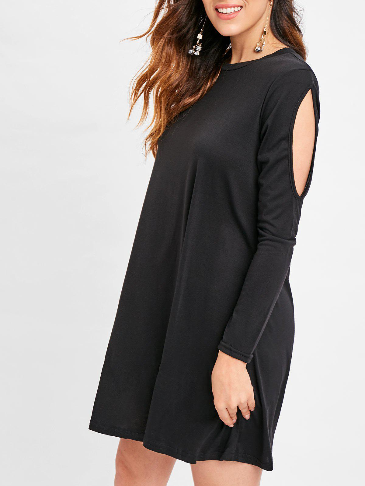 Discount Cut Out Sleeve Tunic Tee Dress