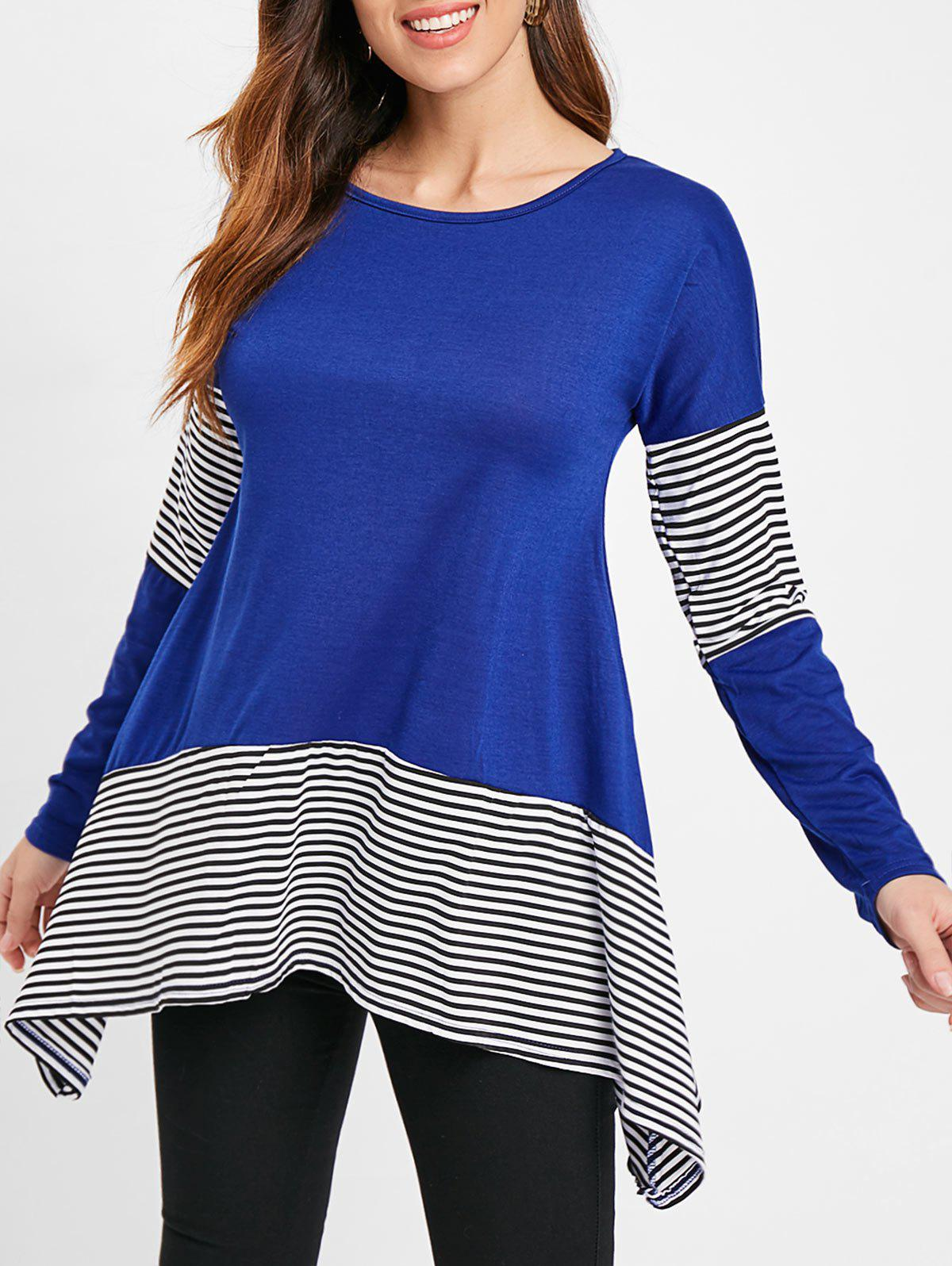 Cheap Stripe Insert Asymmetrical Tunic T Shirt