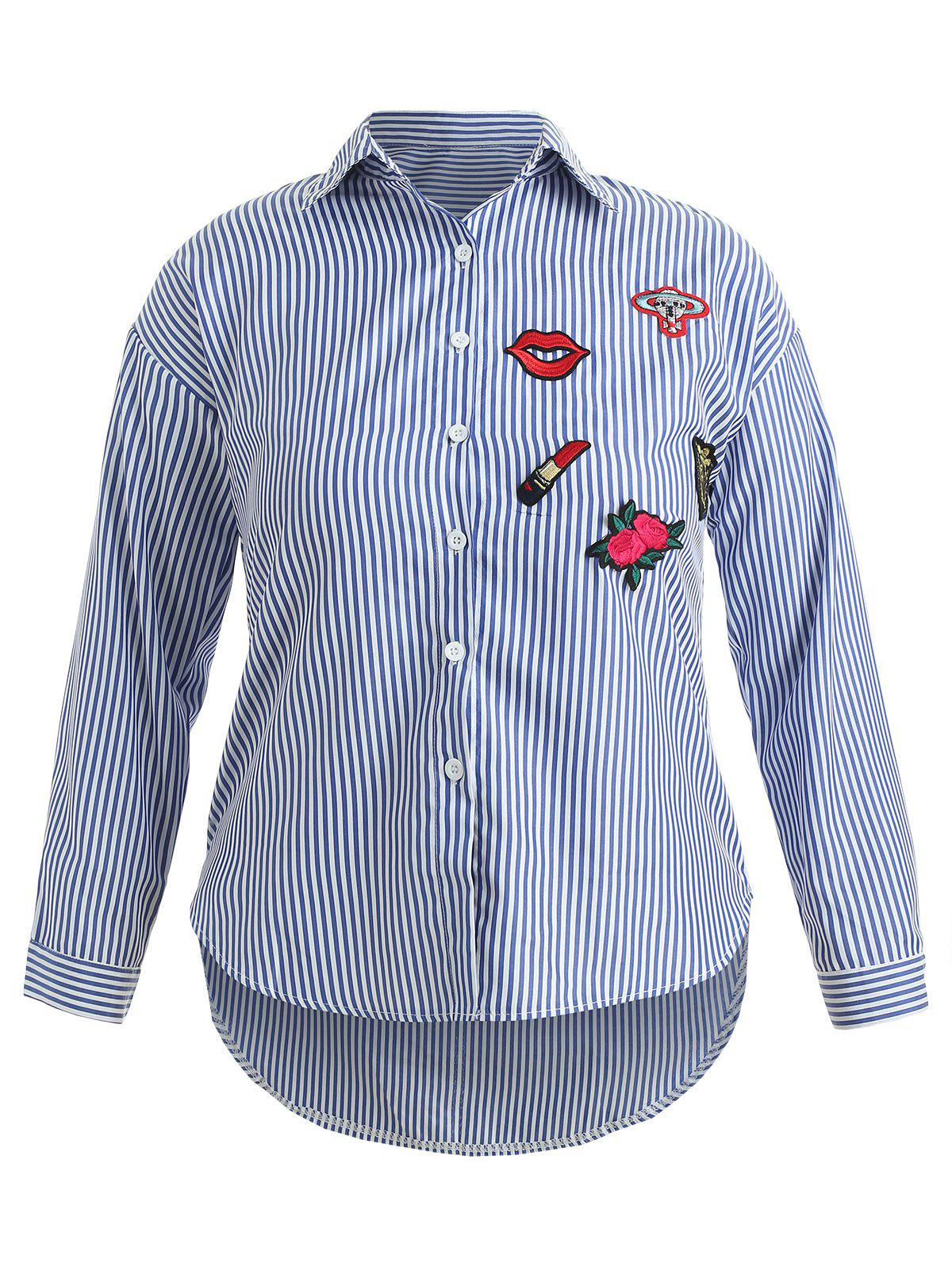Trendy Plus Size Striped Embroidered High Low Shirt
