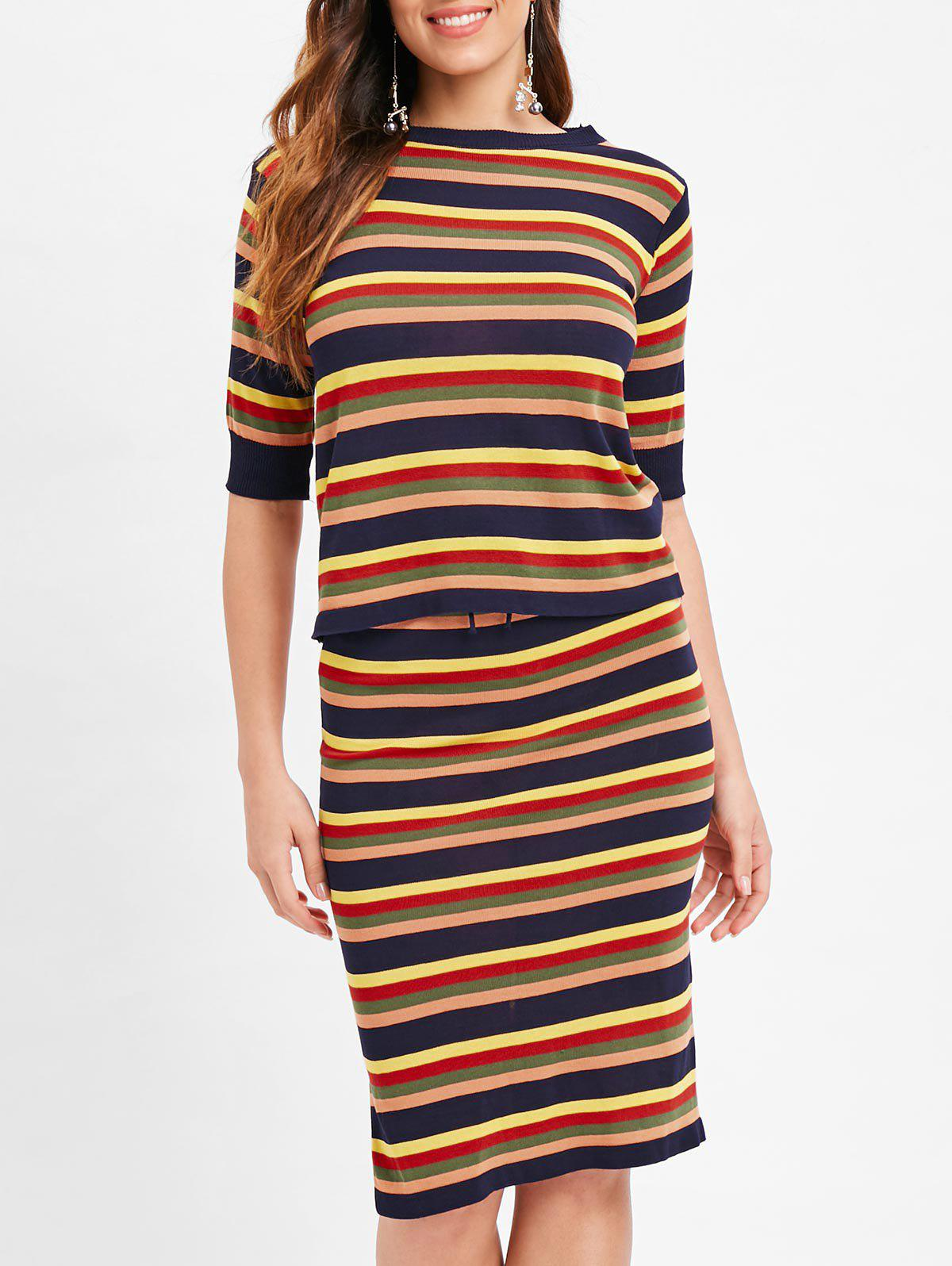 Outfit Colorful Stripe Two Piece Knitted Suit