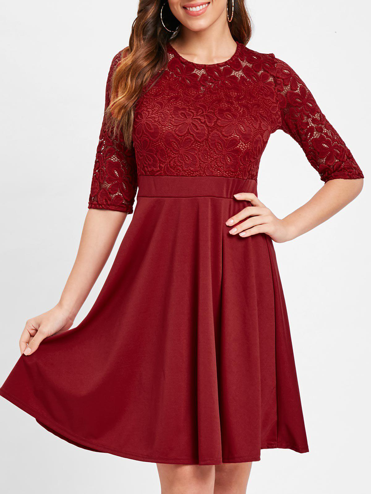 Online Lace Insert Fit and Flare Dress