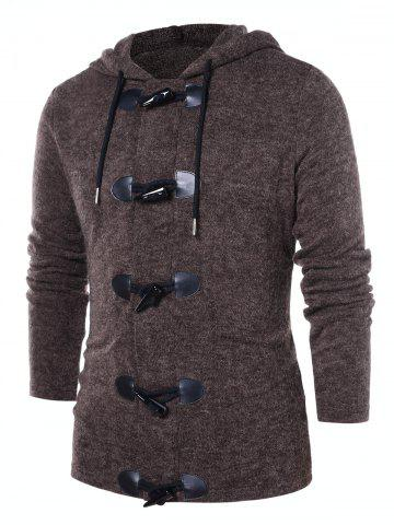 Button Up Solid Color Hooded Coat