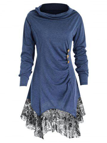 Full Sleeve Heap Collar Skirted T-shirt