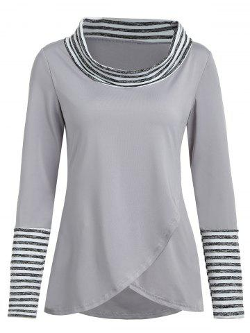 Cowl Neck Stripes Long Sleeve Tee