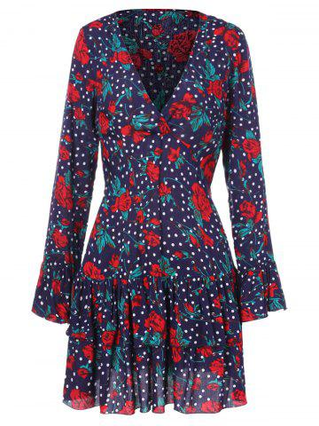 Floral Polka Dot Print Flare Sleeve Dress