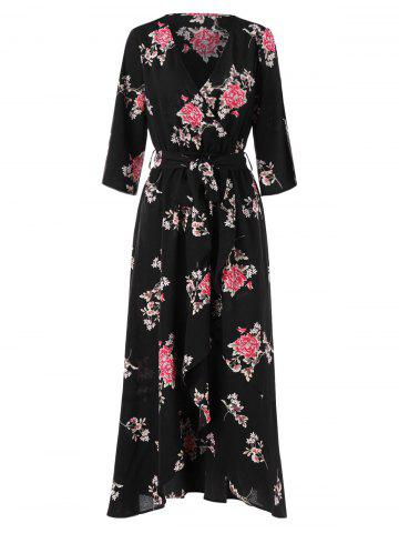 Floral Print Long Faux Wrap Dress