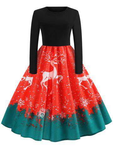 Christmas Elk Print Fit and Flare Dress - LAVA RED - M