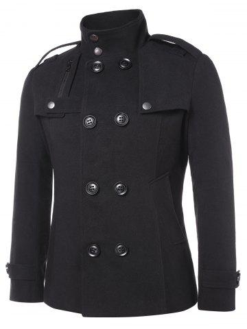 Solid Double Breasted Stand Collar Coat