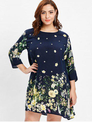 Round Neck Plus Size Floral Print Shift Dress