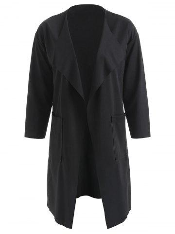 Front Pockets Turn Down Collar Coat