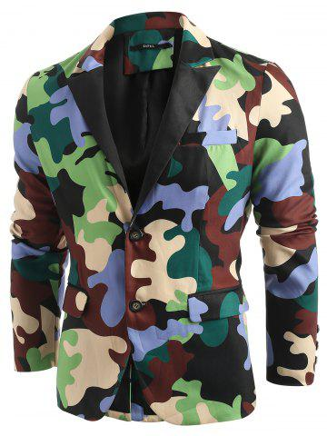 Single Breasted Lapel Collar Camouflage Blazer