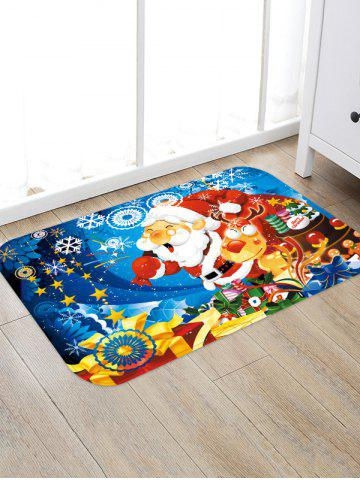 Cartoon Santa Claus and Elk Printed Christmas Floor Rug