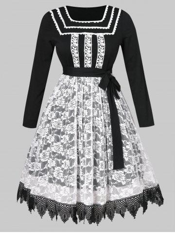 Plus Size Halloween Belted Lace Insert Dress
