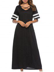 Criss Cross Contrast Trim Maxi Dress -
