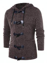 Button Up Solid Color Hooded Coat -