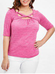 Plus Size Marled Twist Front T-shirt -