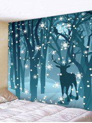 Christmas Deer Forest Print Tapestry Wall Hanging Decoration -